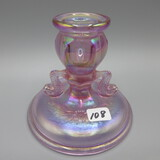 Fenton pink Carnival Dolphin candlestick-4
