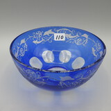 blue Cut to Clear bowl w/Dolphins-4.5