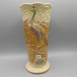Fenton chocolate slag Peacock vase-10