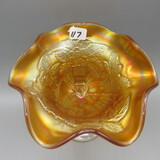 Vintage Fenton marigold Carnival Peacock at the Fountain compote-5.5