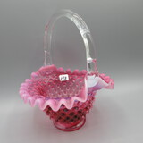Fenton cranberry opal. Hobnail basket-8.5