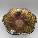 Fenton black amethyst Peacock Tail bowl-7.5