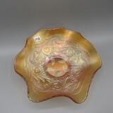 Fenton marigold Carnival Heart & Vine bowl-9