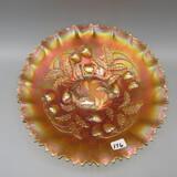 Fenton marigold Carnival Strawberry bowl-8.5