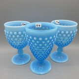 Three Fenton blue opal Hobnail goblets