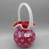 Fenton Cran. Opal Heart Optic basket-7.5
