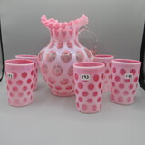 Fenton 6 pc Cran. Opal. Coin Dot water set-pitcher and 5 glasses