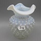 Fenton French Opal. Hobnail vase-5.5