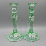 Fenton green candlesticks-8.5
