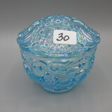 Fenton blue Carnival Fern covered candy dish 3.5