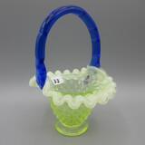 Fenton Vas. Hobnail mini basket w/cobalt handle 6.5