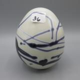 Black & white Art Glass Hanging Heart egg-4.5