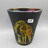 Fenton Giraffe sandcarved flip vase-HP Brightbill (with paperwork)-6
