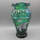 Fenton green Carnival HP vase-8