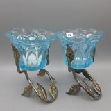 Fenton blue votive candle holders w/metal holders