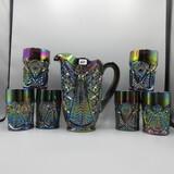 L.E. Smith 7 piece Carnival water set