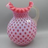 Fenton cranberry opal. satin Honeycomb pitcher-9