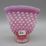 Fenton cranberry opal. Hobnail mini fan vase 4