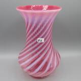 Fenton cranberry opal. Spiral Optic vase-9.5