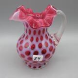 Fenton cranberry opal. Honeycomb Sm. pitcher- 5.5
