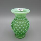 Fenton green opal. Hobnail DC vase-4