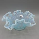 Fenton blue opal. Basketweave bowl-2.5