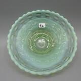 Fenton green opal. Basketweave bowl-2.5 T x 6.5