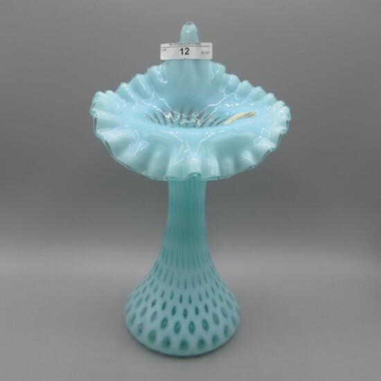 """Fenton 10"""" Blue Opal JIP Vase"""