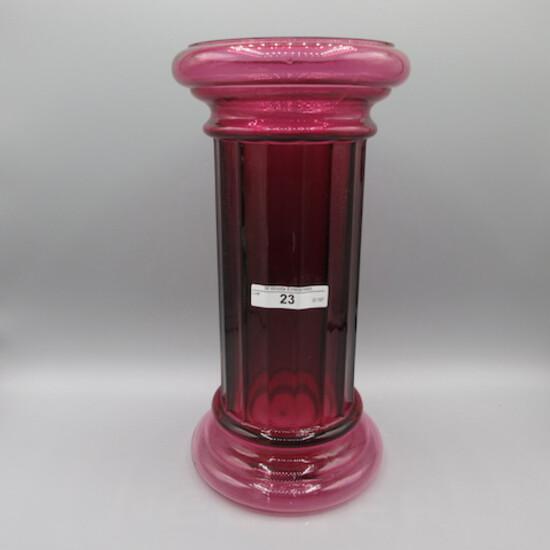 """Pilgrim 11"""" Cranberry Columns Vase"""