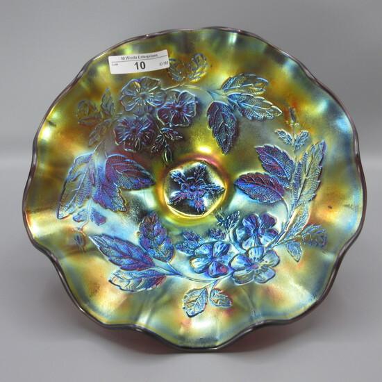 "Dugan 8.5"" elec purple Dogwood Sprays dome ft'd bowl"