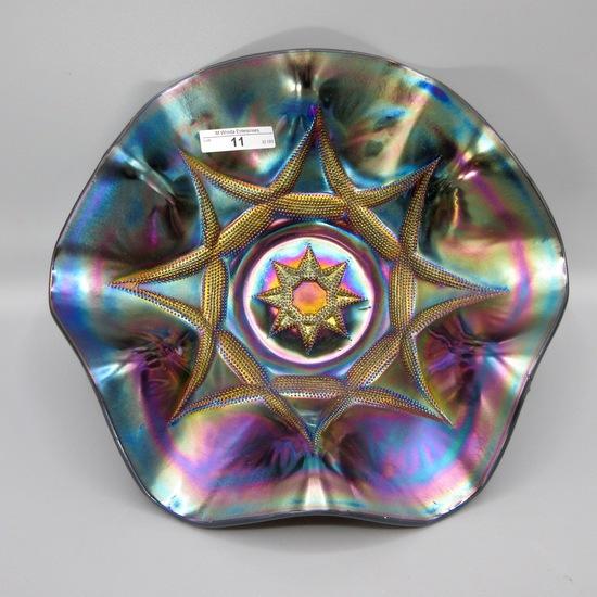 "Dugan 11"" purple Ski Star ruffled bowl WONDERFUL!"