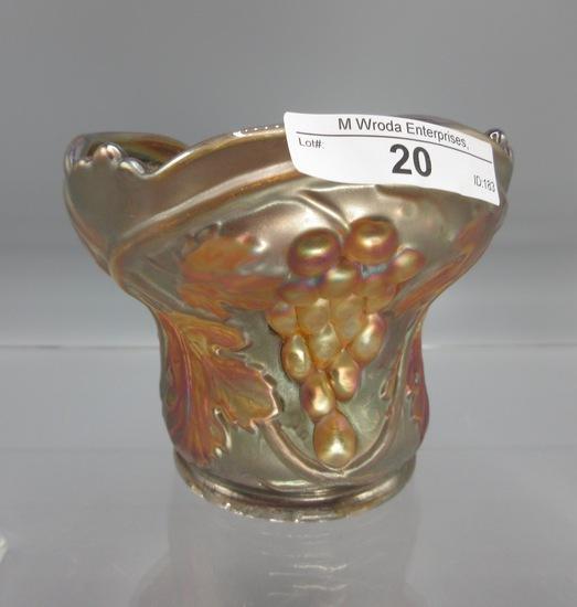 "US Glass Palm Beach marigold w/ goofus Hyancith vase 4.5"""