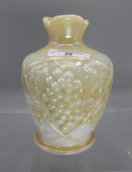 "US Glass Palm Beach 7"" pearlized milk glass bulbous pinch top vase"