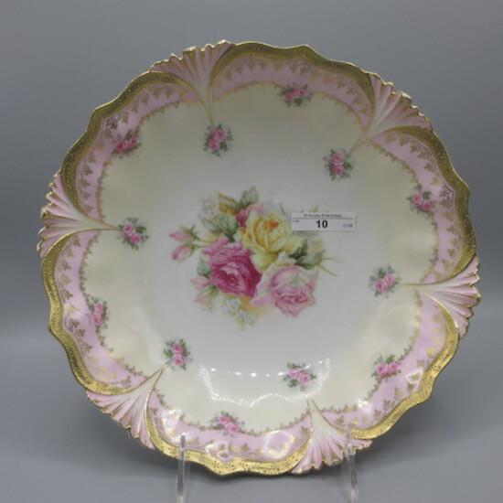 "RS Prussia 11"" floral bowl w/ multi-color roses decor. Turquoise border, UM"