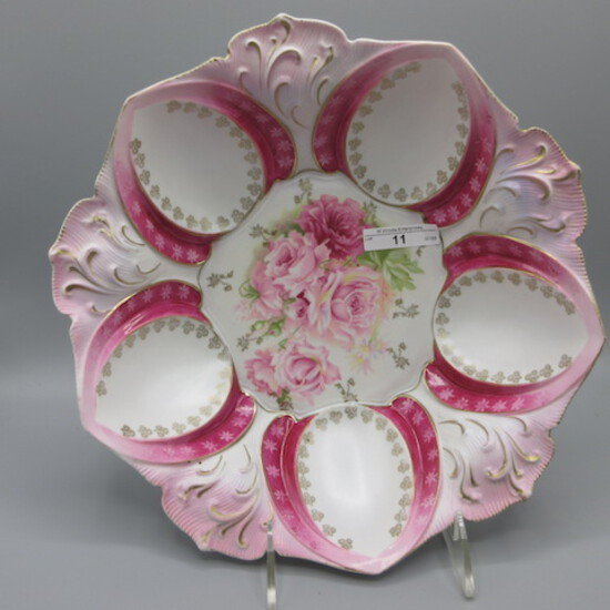 """RS Prussia 11"""" floral bowl w/ hot pink roses decor"""