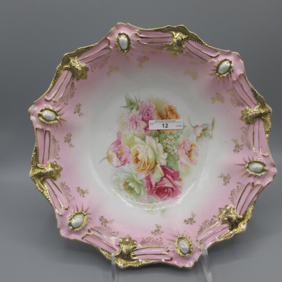 """RS Prussia 10.5"""" Ribbon  Jewel mold floral bowl w/ mixed florals"""