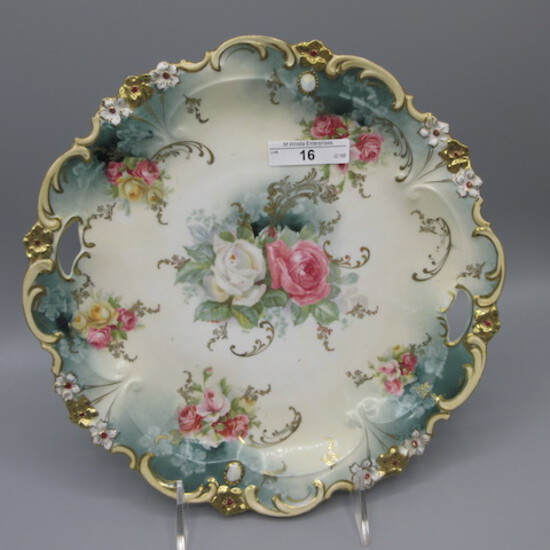 """RS Prussia 10.5"""" floral cake plate w/ opals and roses decor."""