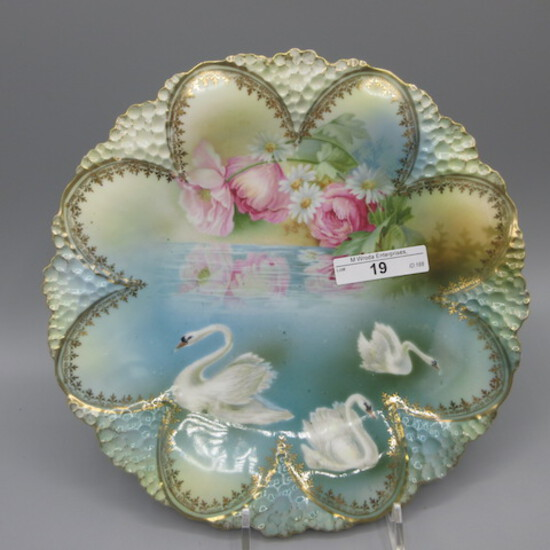 """RS Prussia 9"""" plate w/ swans and reflecting flower decor."""