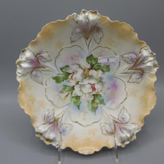 "RS Prussia 10"" Iris mold satin bowl w/ Magnolia's"