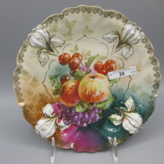 "RS Prussia 9"" Iris mold plate w/ fruit decor, Apple- grape - cherries"