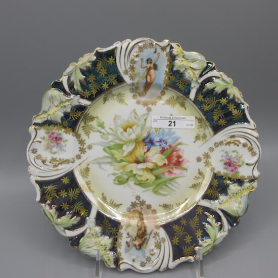"""RS Prussia 9"""" fold poppy mold floral plate w/ medallions of Angelica girls-"""