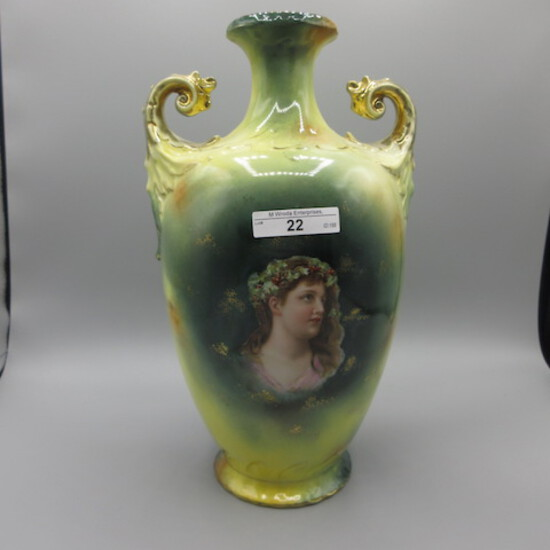 "ES Germany 12"" ""muscle"" vase w/portrait"