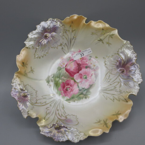 """RS Prussia 9"""" satin carnation mold floral bowl w/ poppy decor."""