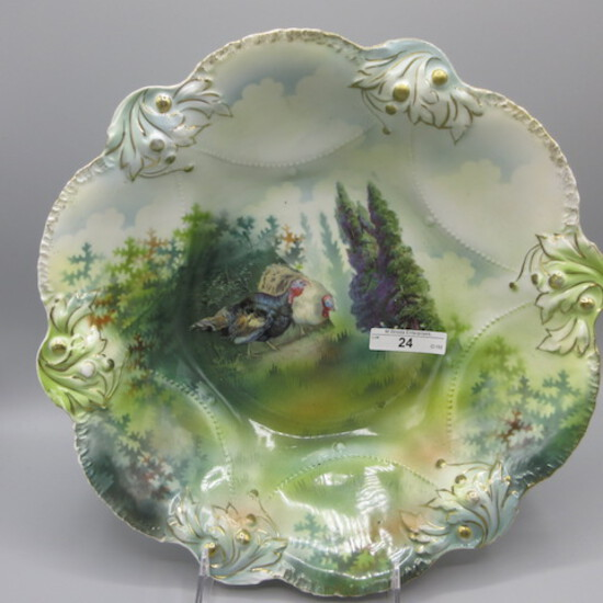 """RS Prussia 10.5"""" bowl w/ Turkey in forest decor."""
