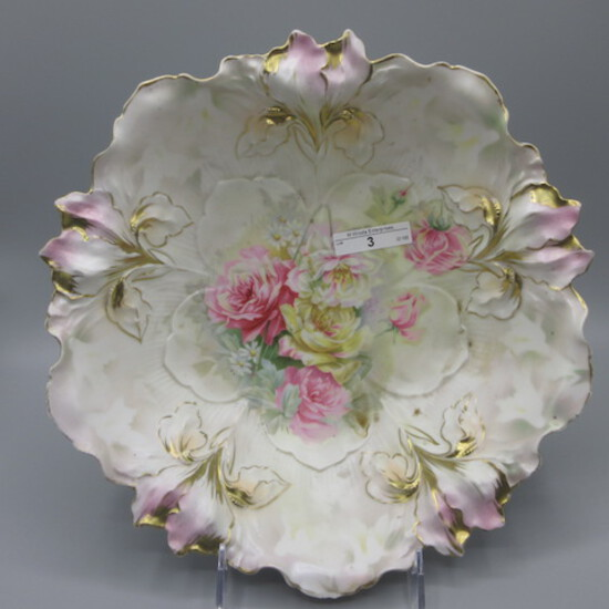 """RS Prussia 10.5"""" Iris mold satin bowl w/ roses"""