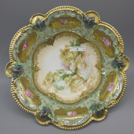"""RS Prussia 10.5"""" floral bowl w/ mint lustre finish nad yellow roses- A LOOK"""