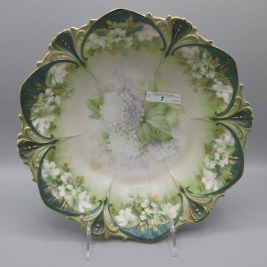 "RS Prussia 10.5"" satin floral bowl w/ snowballs decor. SUPER!"