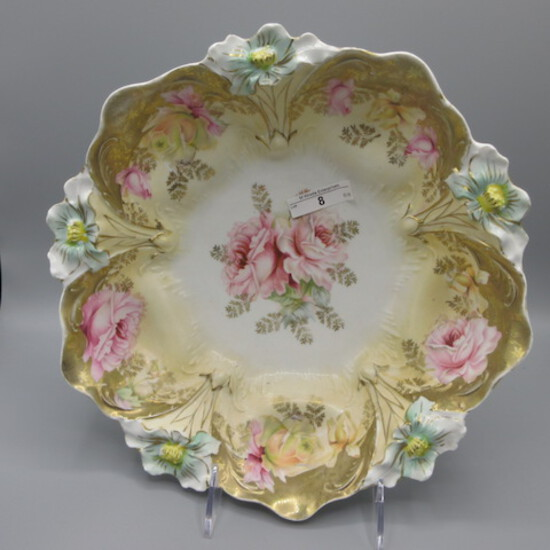 """RS Prussia 10.5"""" lily mold floral bowl w/ pink roses. UM"""