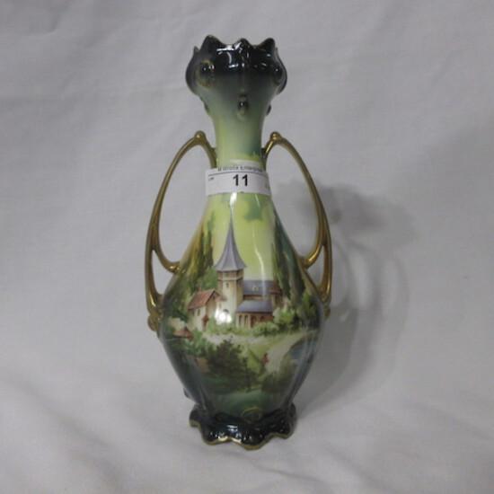 "RS Prussia 8"" 2 handled Castle Scene vase"
