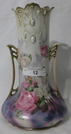 """RS Prussia 8"""" 2 handled satin finsih vase w/ roses and opals. Top edge look"""